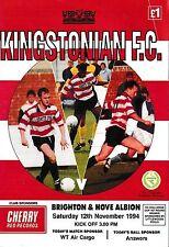 Football Programme KINGSTONIAN v BRIGHTON & HOVE ALBION Nov 1994 FAC