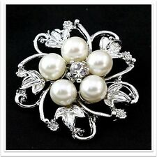 Cute Small Silver Plated and Pearl Flower Wedding Party Brooch Pin Jewelry C013