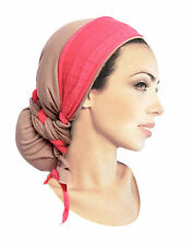 Khaki Tan Head Scarf Hot Pink Wrap Boho Chic Long Tichel Hair Snood - 316