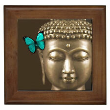 Buddha Aqua Butterfly NEW Decor Ceramic Framed Tile/Wall Plaque/Pot Stand Trivet