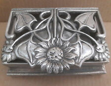 Vintage Silver Tone Metal Jewerly Box / Soap Holder Heavy Footed Flower Design