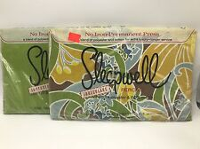 Vintage Sleepwell Twin Flat Bed Sheet Green Floral Pair Set Blue Brown Gold NOS