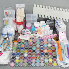 AU 96 Acrylic Powder Liquid Nail Art Kit Glitter UV Gel Glue Tips Brush Set NEW