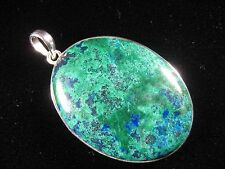 Pendant - Amazing Azurite - Green, Blue, Red in .925 Sterling Silver Setting