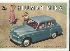 ROOTES HILLMAN MINX SALOON, CONVERTIBLE,ESTATE BROCHURE @1950 1951 EXPORT SPECS.