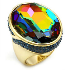 Ladies Huge Rainbow Stones Gold Plated Hematite Ring Size 12