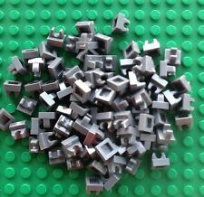 Lego Lot Of 100 Dark Bluish Gray Modified 1x1 Plate with Top Clip New