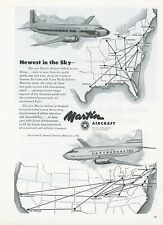 1951 Martin Aircraft Ad 4-0-4 Airliner Eastern Air Lines & TWA Route Maps