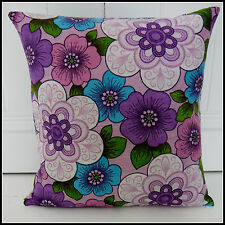 Vintage 60s 70s cushion cover psychedelic fabric purple flowers groovy kitsch VW