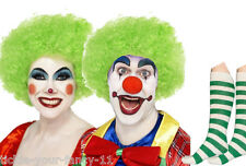 Unisex Green Clown Kit Wig Make Up Nose Socks Fancy Dress Costume Circus Funny