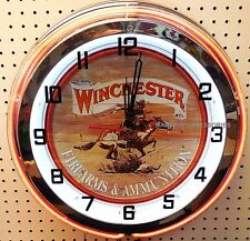 """18"""" WINCHESTER Sign Double Neon Clock Firearms & Ammunition"""