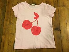 MINI BODEN Girl's Pink Sequin Cherry T Shirt- Size 4/5- Retails $38