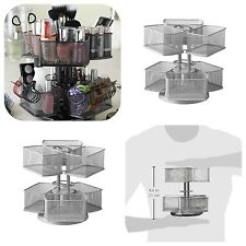 Makeup Organizer Cosmetic Storage Rack Spin Holder Stand Carousel Silver NEW!