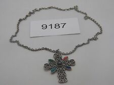 Vintage Jewelry Necklace SILVER TONE AVON CROSS 9187