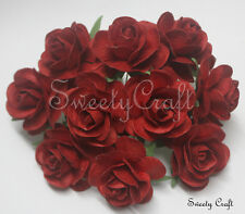 10 Red Mulberry Paper Roses Flower handmade size 3.5 cm.(35mm.) SW035