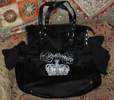 JUICY COUTURE YHRUO002 SEQUIN CROWN DAYDREAMER BLACK VELOUR BAG
