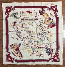 Vintage California Area Mexican Tablecloth Screen Print on Linen Los Angeles 36""