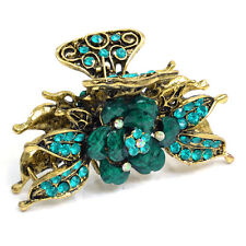 Gold Floral Adorned Hair Clip with Green Blue Stones