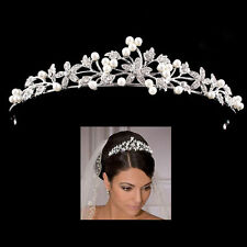 Brautschmuck Tiara Braut Haarschmuck Haarband Strass Perle Hochzeit Diadem Krone
