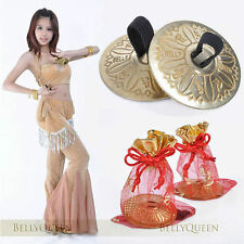 2 Sets Belly Dance Zills Gold Brass Finger Cymbals Elastic Dancing