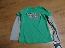 bnwt-girls long sleeve nike dri fit shirt-naturally gifted-sz 5-gree-gray sleeve