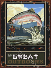 Great Outdoors Metal Sign,Trout Fly Fishing, Tied Lures, Retro Mountain Painting