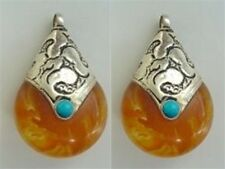 Pair Big Tibetan Turquoise Sterling Silver Repousse Beeswax Amber Pendants Beads