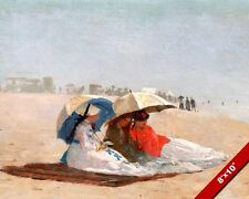 THREE WOMEN ON THE BEACH WITH UMBRELLAS PAINTING ART REAL CANVAS GICLEE PRINT