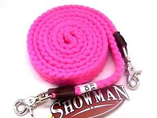 """Showman cotton/poly blend 1"""" wide soft pink roping reins horse tack equine"""