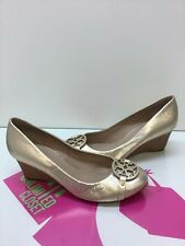Tory Burch Mini Miller 45MM Wedge Shoes Gold Leather Size 9M