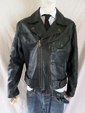 FIRST GEAR Hein Gericke black perforated leather motorcycle biker jacket LARGE