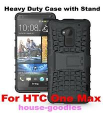 Black Heavy Duty Strong Tradesman Hard TPU Case Cover Stand for HTC One Max