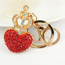 Crown Red Heart Keyring Cute Swarovski Crystal Charm Pendant Key Bag Chain Gift