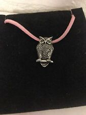 Owl R157 English Pewter Emblem on a Pink Cord Necklace Handmade