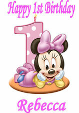 Personalised A4 1st Birthday Baby Minnie Mouse, Edible Icing Sheet Cake Topper