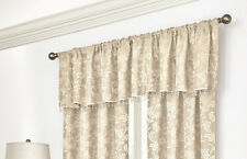 Splendor Ivory Beige Floral Jacquard Tailored Valance with Bead Trim