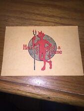VINTAGE ANTIQUE 1909 Stamped DEVIL Having A Devil Of A Time Postcard Pitchfork