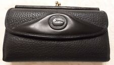 DOONEY & BOURKE BLACK PEBBLE LEATHER WALLET W/KISSLOCK COIN AND CHECKBOOK HOLDER