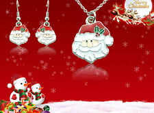 Multicolor Enamel Santa Claus Father Christmas Necklace & Earrings Set Xmas Gift