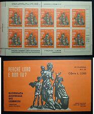 1963 Giornata Mondiale dei Lebbrosi LIBRETTO con due fogli da 10 v. completi