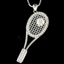 w Swarovski Crystal Tennis Ball Racket Racquet Sport Tournament Necklace Jewelry