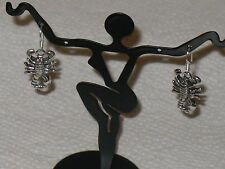 CHARMING INDONESIAN BALI JAVA ISLAND SCORPION 925 SILVER EARRINGS