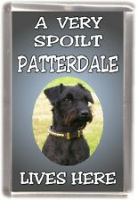 "Patterdale Terrier Dog Fridge Magnet  ""A VERY SPOILT PATTERDALE LIVES HERE"""