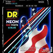 DR NUSAB-40 Neon USA Red White & Blue Coated Strings Electric Bass 40-100