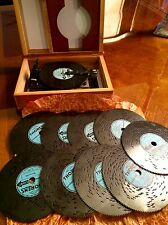 RARE Vintage Thorens Music Box 10 Disk Wooden Book Switzerland Works Old Antique