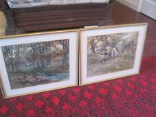 Pair of English School Watercolours by H Glass .12.5 in x 15.25 High quality fra