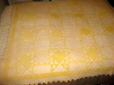 FEATHERED STAR VINTAGE QUILT PRAIRE POINTS BORDER CLAM SHELL HAND QUILTED YELLOW