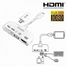 White 5 in 1 USB OTG TF/SD Card Reader MHL to HDMI Adapter Cable fr Galaxy S3 S4