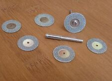 6pc MINI DIAMOND CUTTING DISC SET ROTARY TOOL CUT GLASS METAL STONE MODEL DRILL