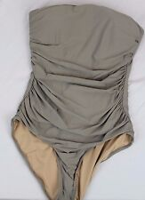 J.Crew $98 Ruched Bandeau One-Piece Swimsuit 14 Earth Brown L Large NWT B6818